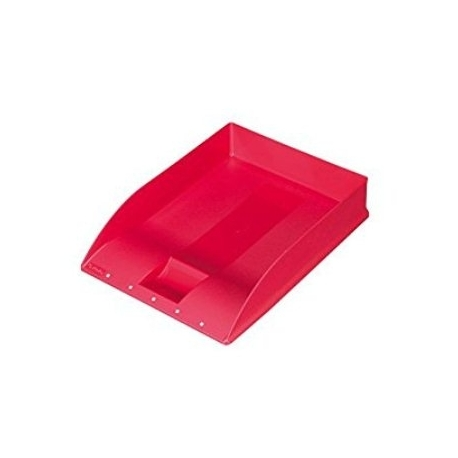 Letter Tray Herlitz A4 Square W/Label Red 10198026