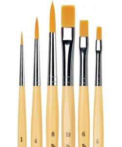 Davinci Junior Brush Assorted 6Pcs 3 Round 3 Flat In Tin Box 5406