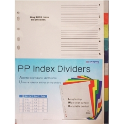 DIVIDER I-BINDER A4 PLASTIC COLOR 10TABS ID-003