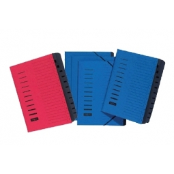 SIGNATURE BOOK PAGNA 12COMPARTMENTS 1-12 W/ELASTIC RED