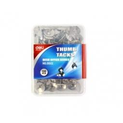 THUMB TACK DELI 100/PACK PLASTIC BOX SILVER 0022