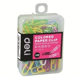 PAPER CLIP DELI 29MM 100/PACK ASSORTED 0024