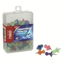 PUSHPIN DELI CLEAR COLOR HEAD 100/PACK 0030