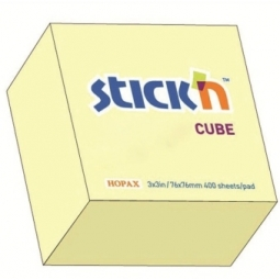 STICK NOTES STICK N 76X 76MM 400SH/CUBE PASTEL YELLOW 21072