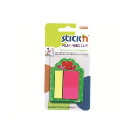 Index Film Notes Stick N Clips 2 Col.2 Sizes Hearts 21379