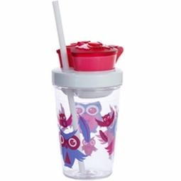 TUMBLER CONTIGO SNACK BPA FREE W/CONTAINER 350ML OWL PINK 1000-0626