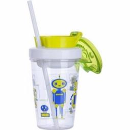 TUMBLER CONTIGO SNACK BPA FREE W/CONTAINER 350ML ROBOT GREEN 1000-0628