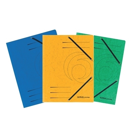 Folder W/3 Flaps And Elastic Herlitz Colorspan A4 Yellow 10843886
