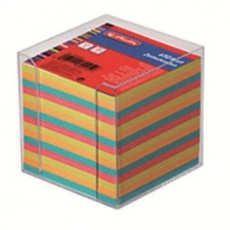 NOTE CUBE BOX HERLITZ PLASTIC 650 SHEETS ASSORTED 01600253