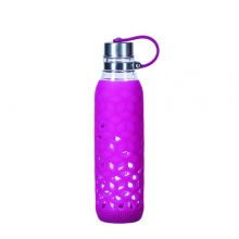 WATER BOTTLE CONTIGO PURITY GLASS W/SILICONE COVER 590ML VERRY BERRY 1000-0767