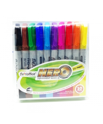 Marker Permanent Flexoffice Nero 10/Pack Assorted Fo-Pm02